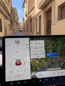 Tesla Display in Spanish streets